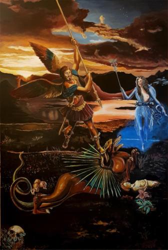 La Liberazione di Andromeda – Nigredo segue Albedo – Acrilico su tavola 100X150 – 2018. Esposto alla Mostra Arcaico e Presente a L'Aquila – Palazzetto dei Nobili dell'Aquila