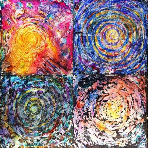 Quintessenza 2017-18 Spirals of Life, inside the cosmic energy. Tecnica mista personale su plexiglass.  100x100. Esposto alla mostra Arcaico e Presente a l'Aquila _ Palazzetto dei Nobili